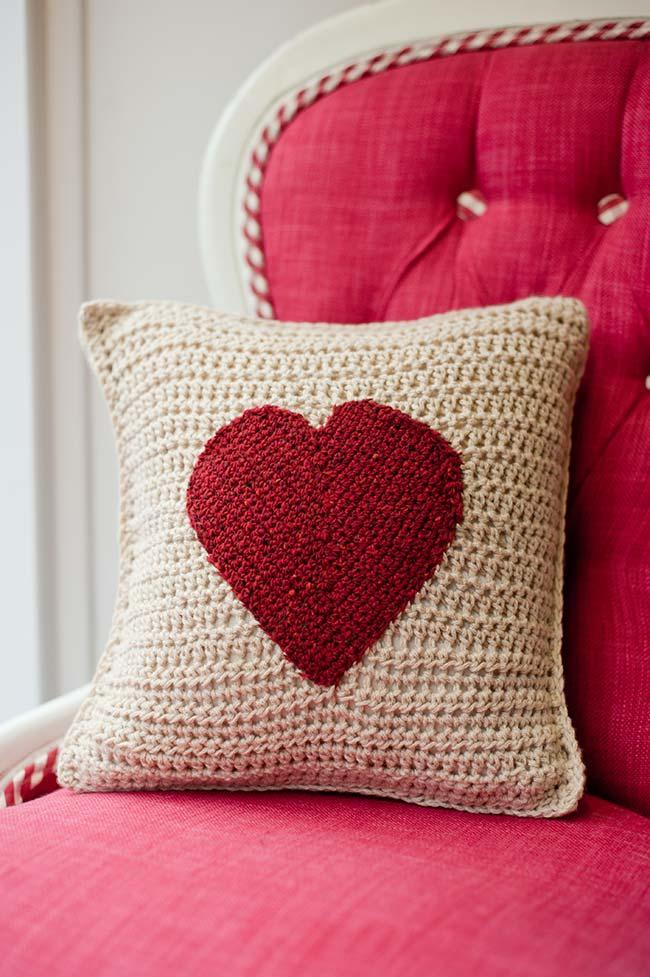 Cushion cover with red heart