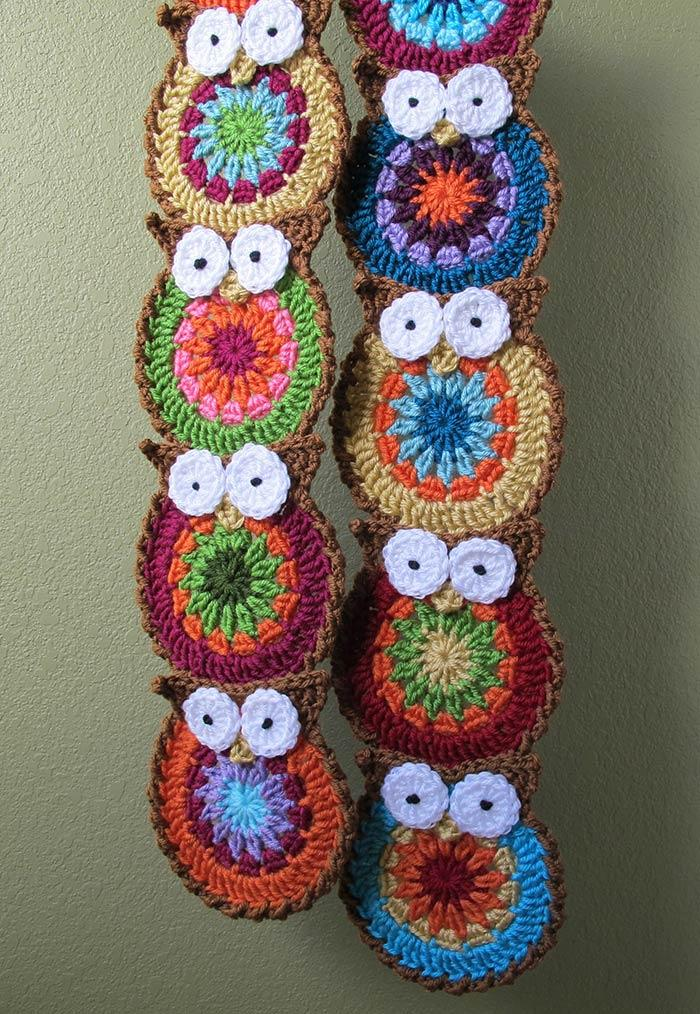 Owls stacked on a curtain
