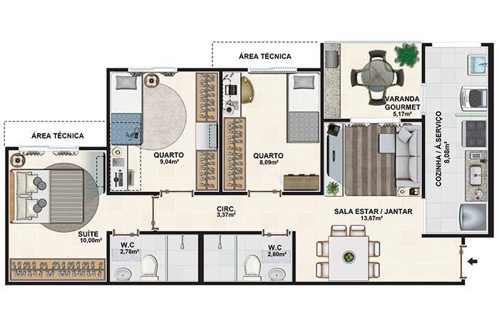 Floor plan with three bedrooms, gourmet balcony and two bathrooms