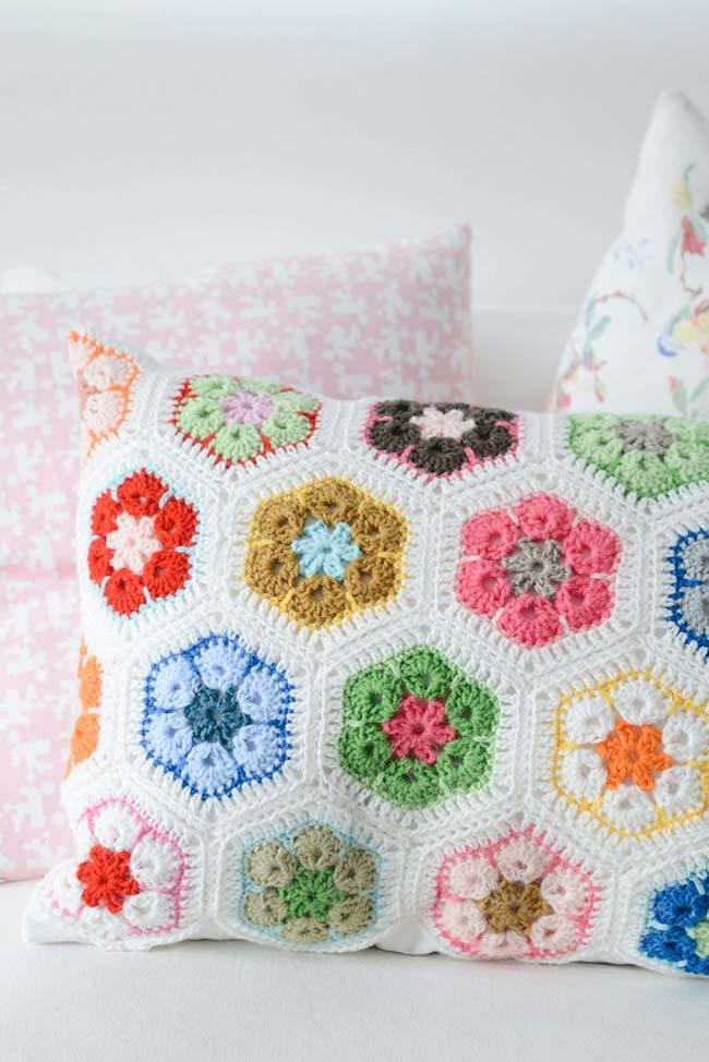 Cushion cover with colorful flowers
