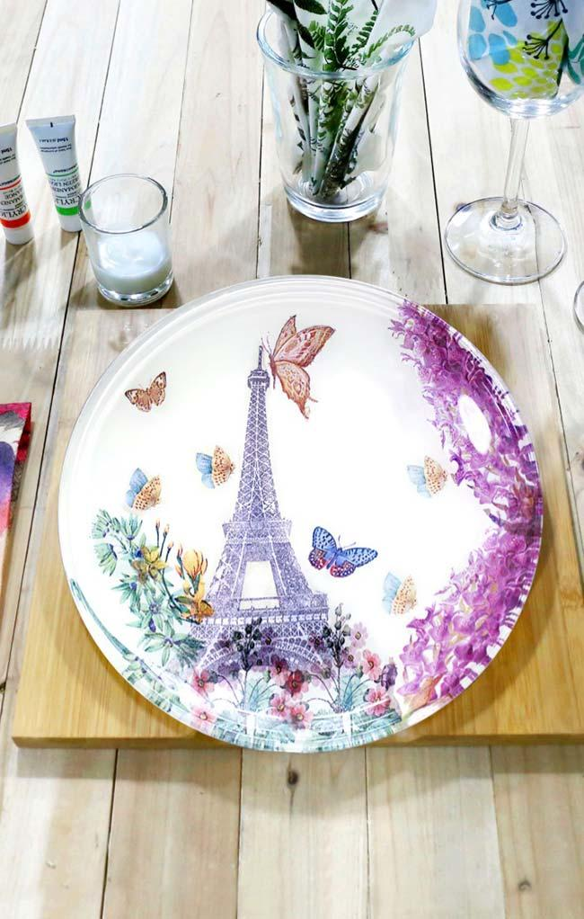 Plate full of delicacy with decoupage
