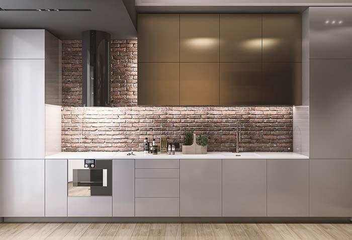 Wall of brick in the kitchen