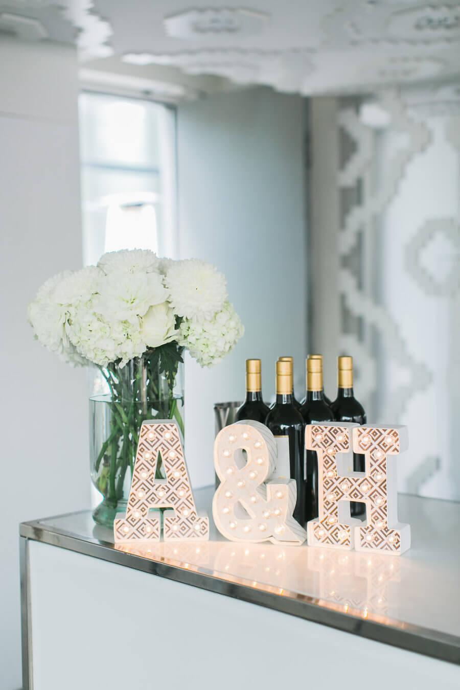 Flowers and Drink Bottles at Simple Engagement Party