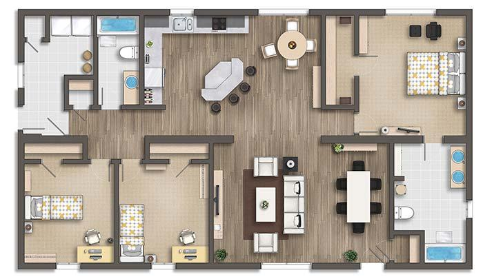 3 room apartment with gourmet kitchen
