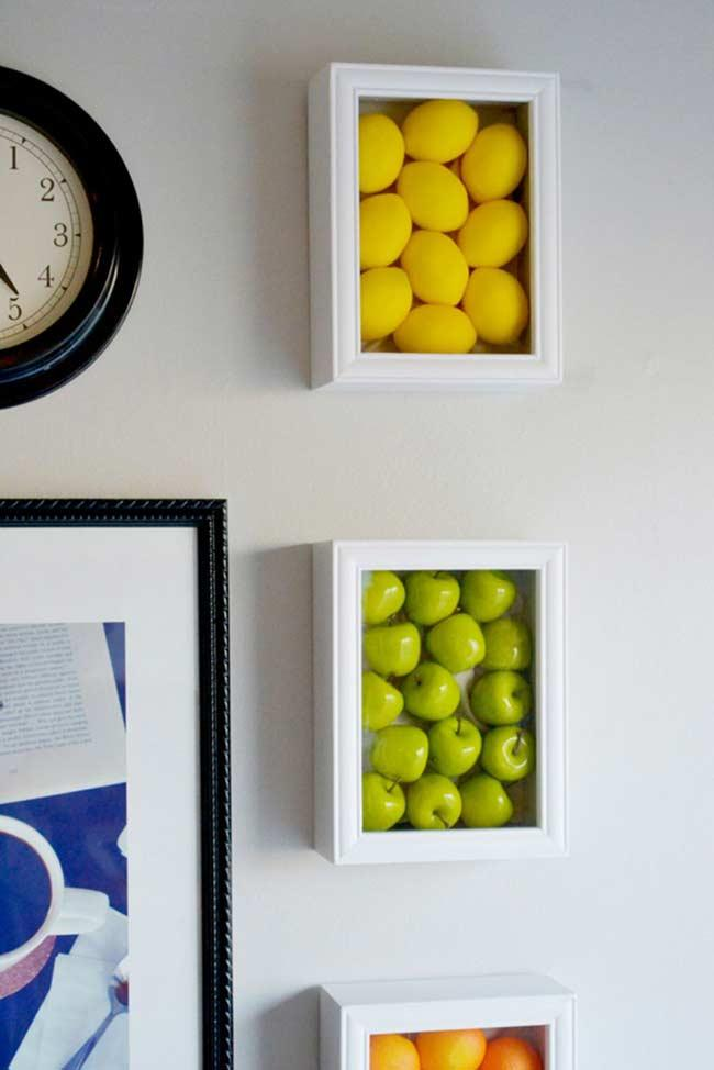 Fruits on wooden frames