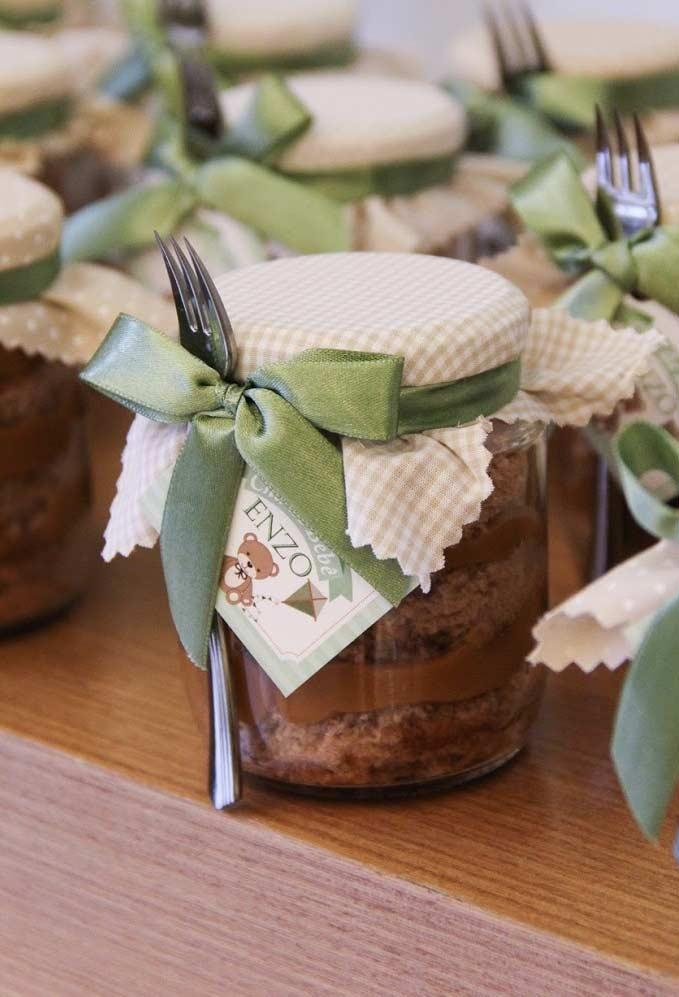Cake in glass jar with baby shower souvenir