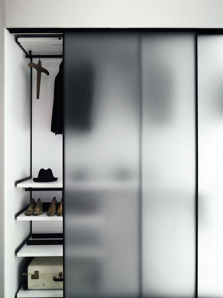 Glass door with matte finish in cabinet