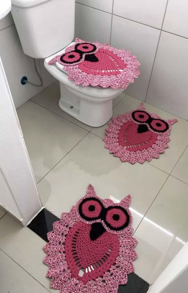 Bathroom with pink owls