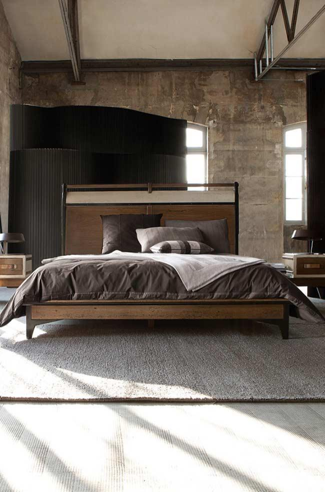 Wooden headboard with metal details