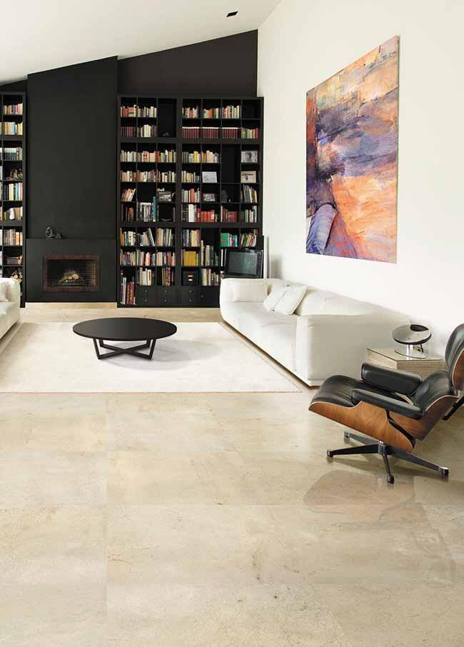 Sophistication of Crema Marfil marble with the elegance of black furniture