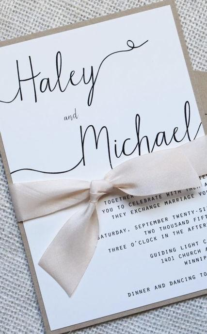 Tie and Letters Make This Invitation All Romantic