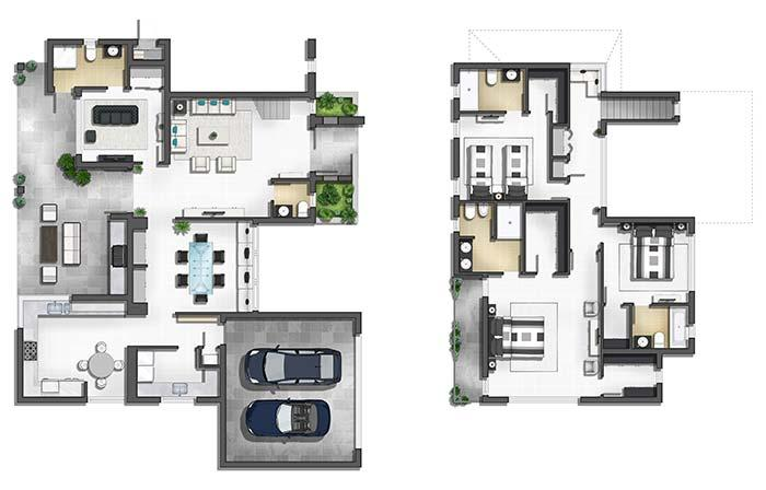 Modern 3 bedroom house plan with suite and closet