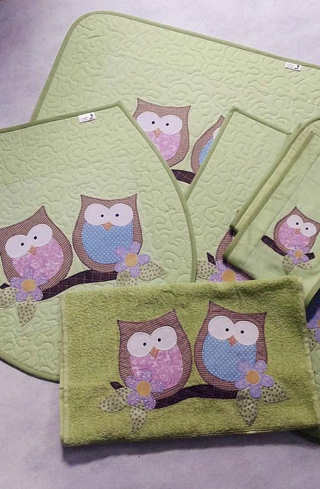 owl bathroom set with bath and face towels