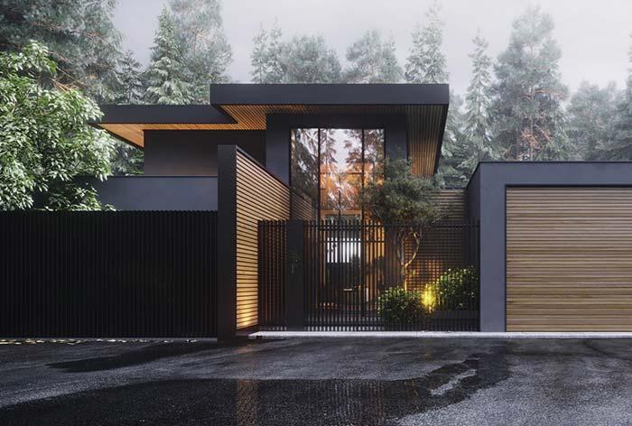 Black wall with wood details