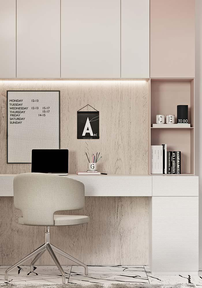 Office with pastel tones