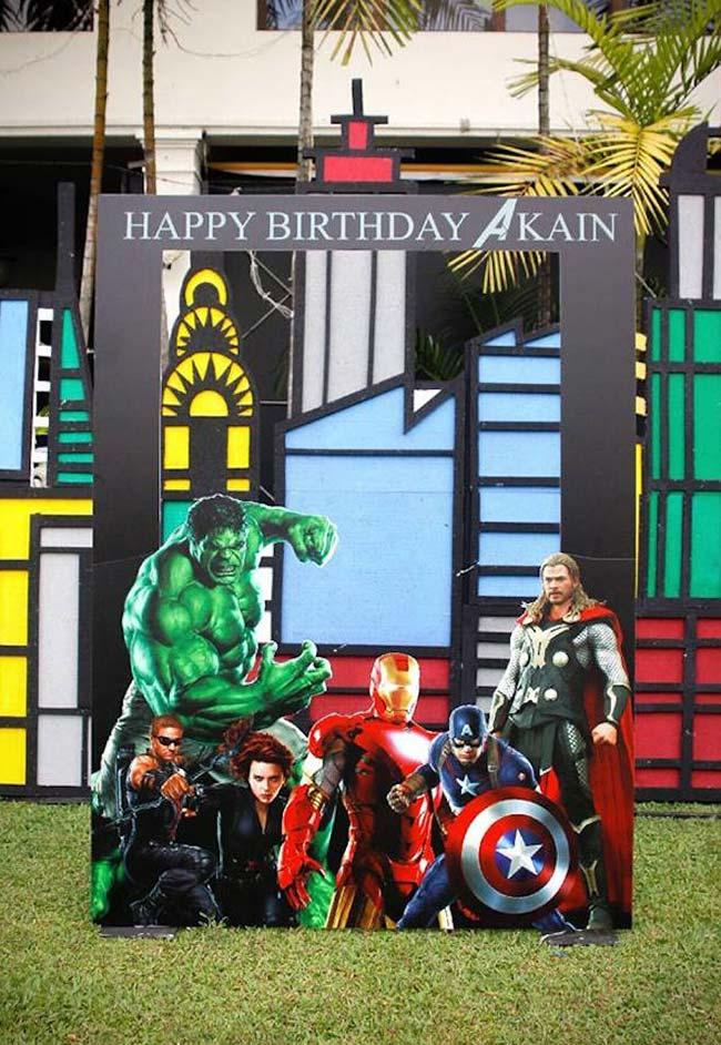 A corner of photos at the Avengers party