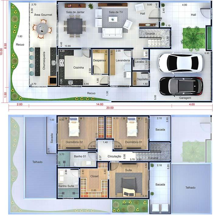 Floor plan with 3 bedrooms and 2 floors