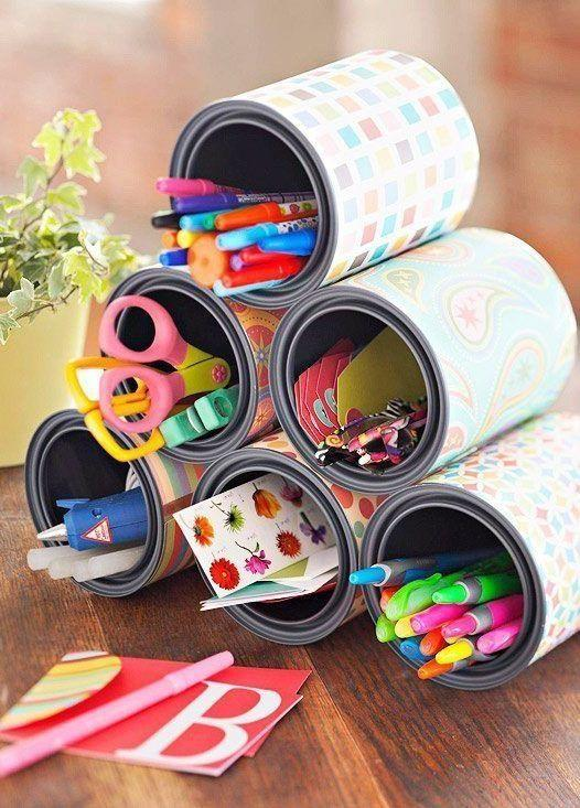 Cans decorated: 70 cool ideas to make at home 60