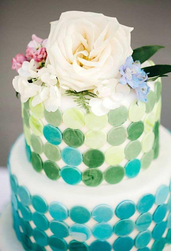 Cake decorated with blue, yellow and a little green