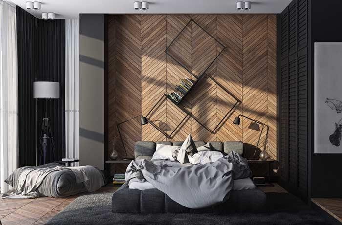 Wooden headboard with paging Chevron