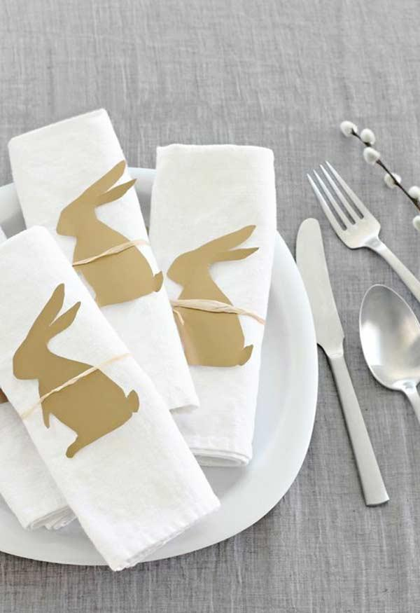 Silhouettes of rabbits for napkins