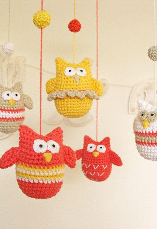 Mobile with colorful owls