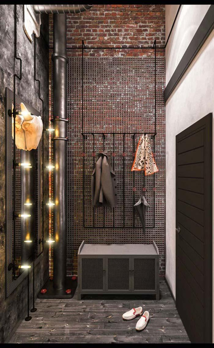 Industrial style closet with brick wall