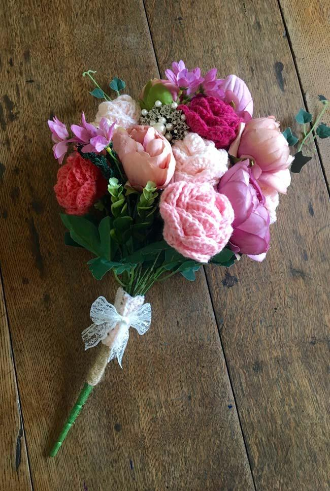 Crochet Roses and Fabric Flowers