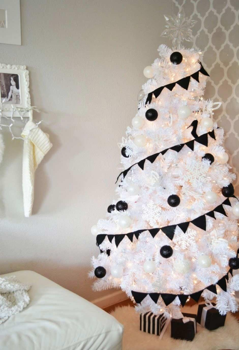 White tree with black decoration.