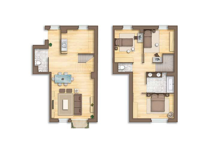 House plan with two floors: three bedrooms, two toilets and only one bathroom