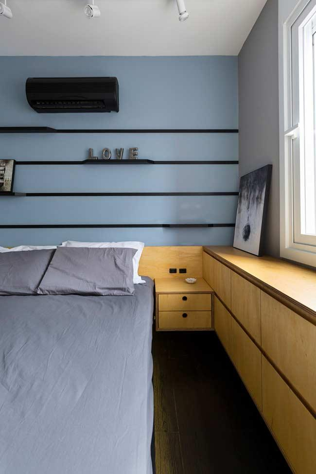 The wooden headboard is useful for hiding wires and plugs
