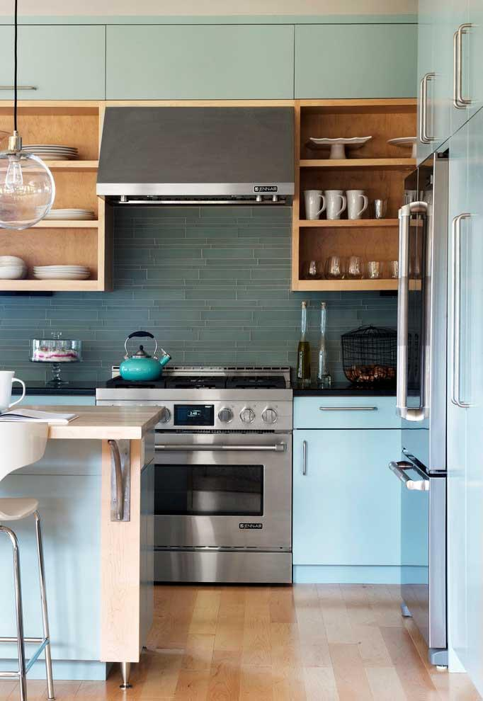 Kitchen with retro blue