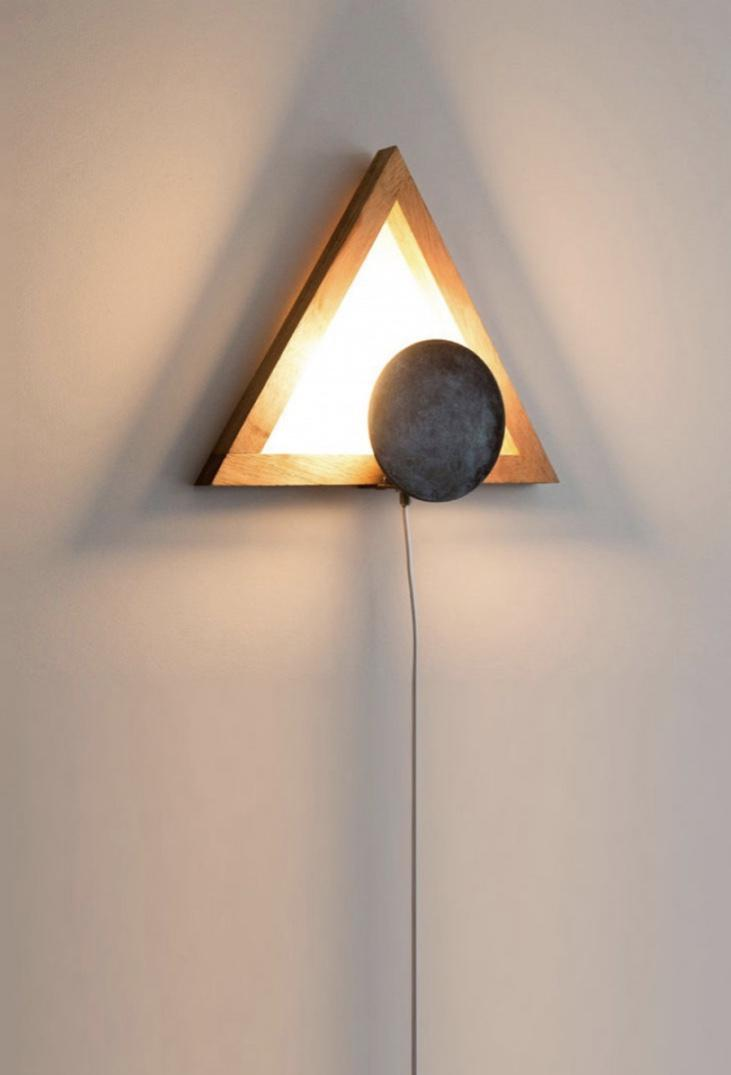 Yellow light on wooden lamp