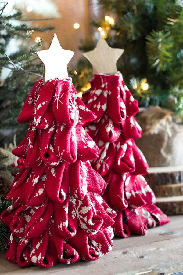 Christmas tree with cardboard and fabric