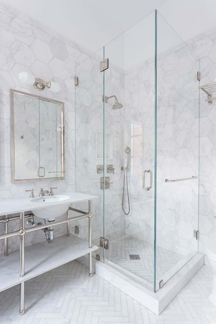 Thassos white marble on the bathroom counter