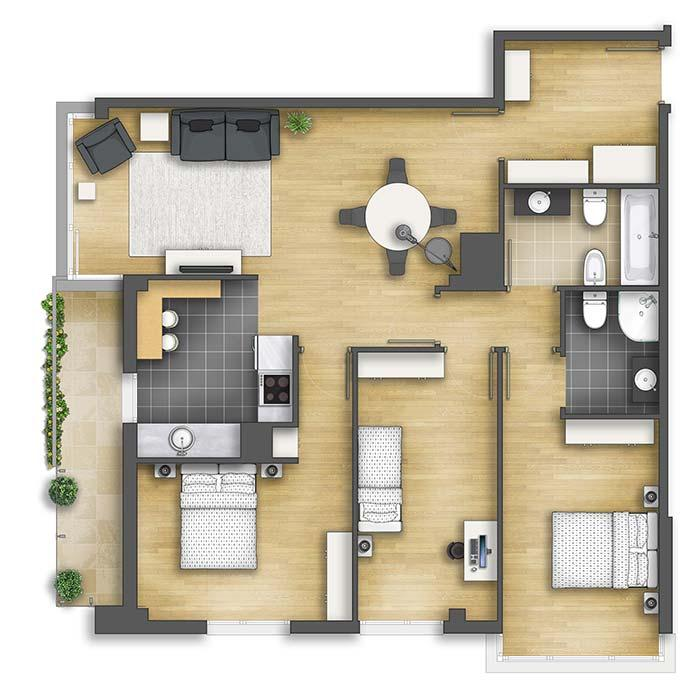Apartment with large bedrooms