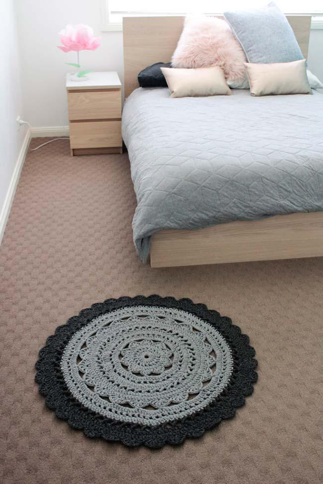 round crochet rug with embossed