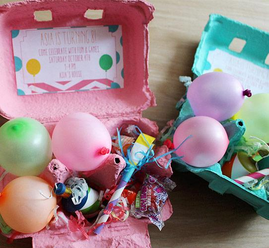 A fun invitation made with egg carton