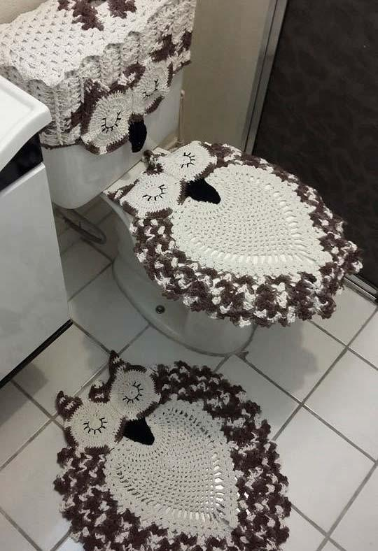 Owl Bathroom Set in Neutral Colors
