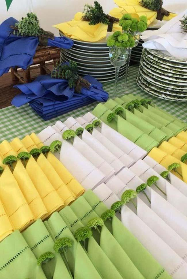 Green and yellow in world cup decoration