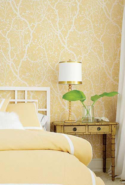 Light yellow and golden decoration on the double room