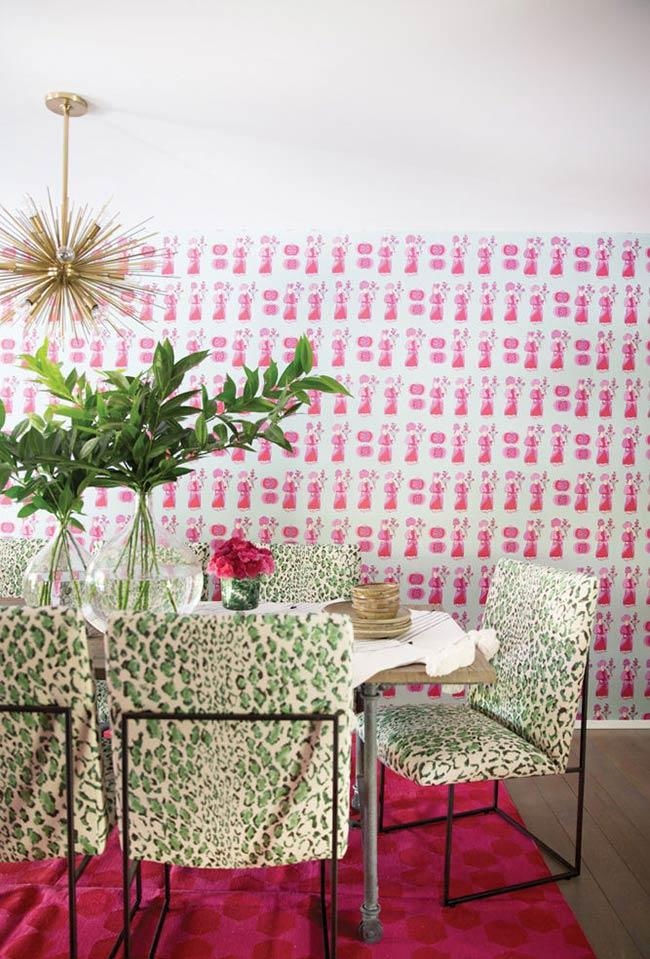 Pink background for green decoration