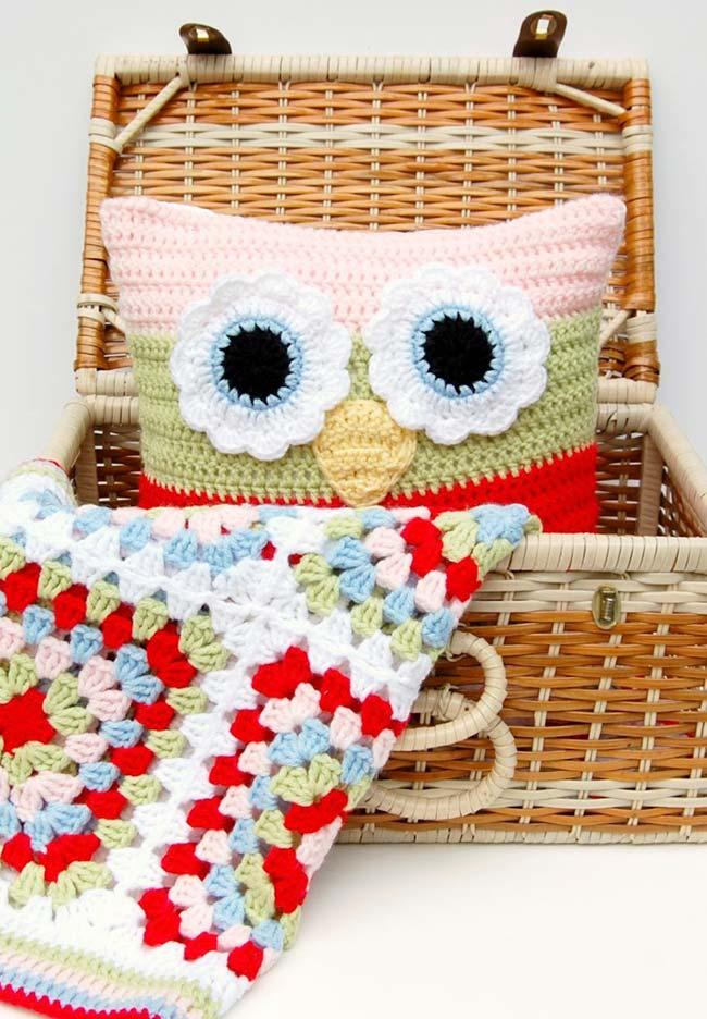 Owl Crochet Cushion Cover