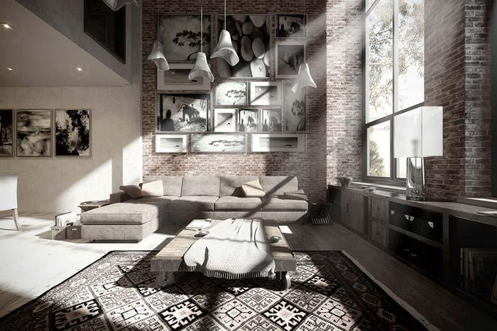 Brick wall and black and white decoration