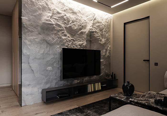 Wall with textured mass