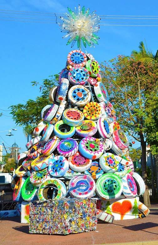 Christmas tree with tires
