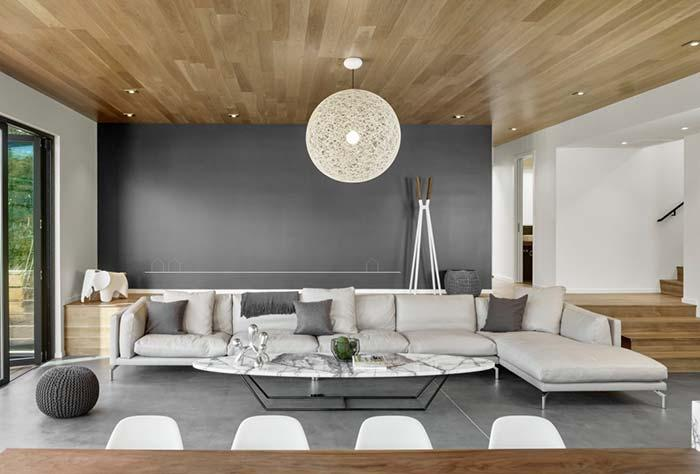 Wood lining in combination with gray