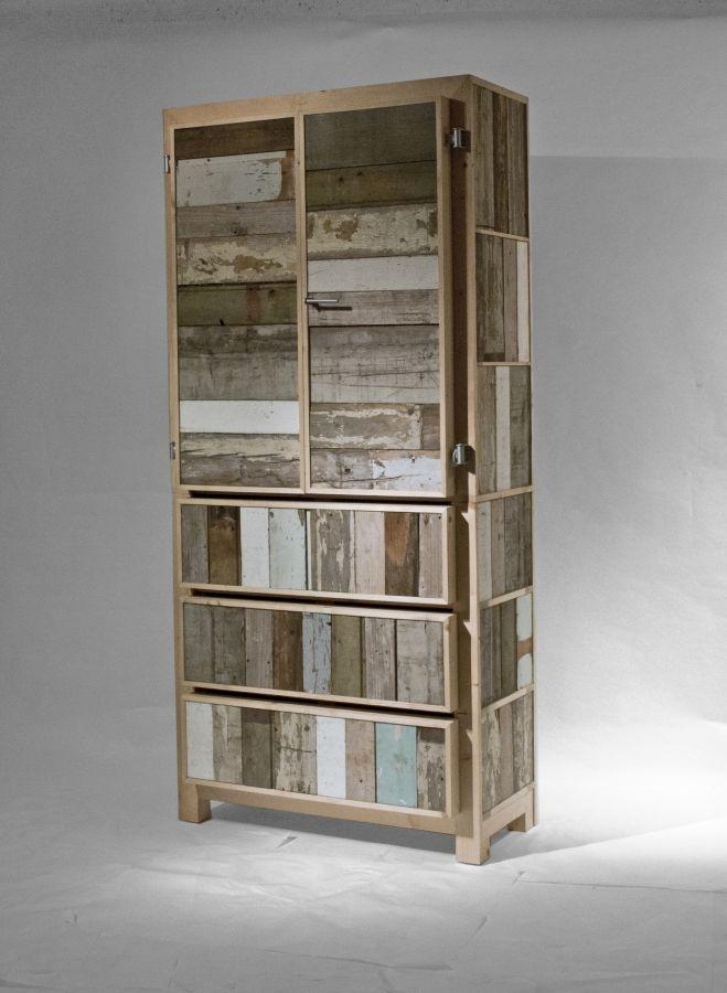 Aged pallet slats are the charm of this wardrobe
