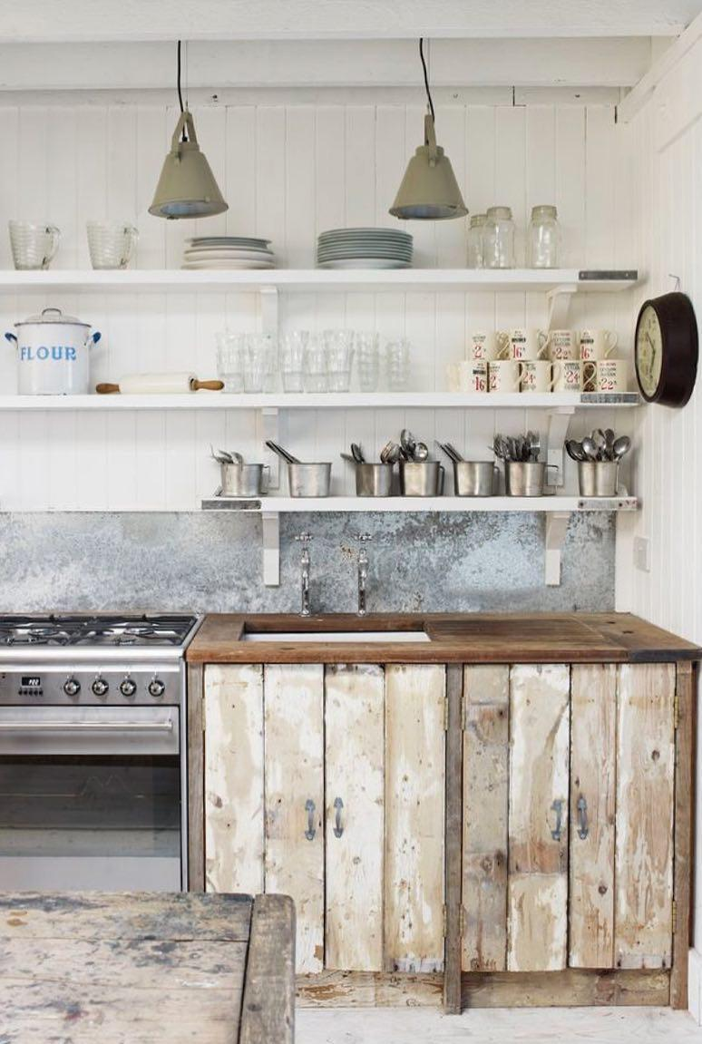 Rustic kitchen with pallet cupboard