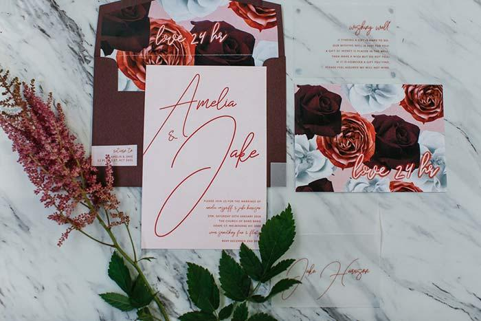 Try matching the colors and elements of the invitation with the wedding party decor 2018